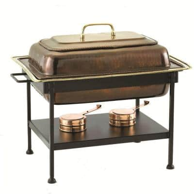 8 qt. 23 in. x 13 in. x 19 in. Rectangular Antique Copper over Stainless Steel Chafing Dish