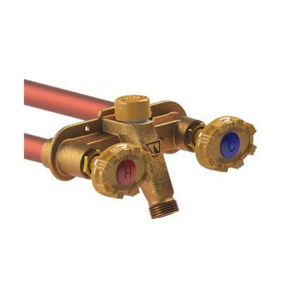 1/2 in. PEX x 18 in. L Freezeless Brass Model 22 Anti-Rupture Hot and Cold Sillcock