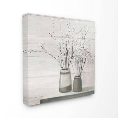 """30 in. x 30 in. """"Willow Flower Still Life Neutral Grey Painting"""" by Julia Purinton Canvas Wall Art"""