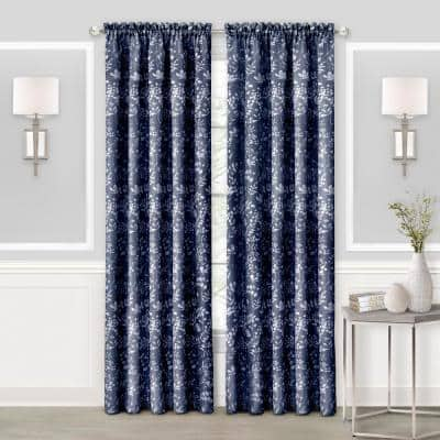 Charlotte 52 in. W x 63 in. L Polyester Light Filtering Window Panel in Navy
