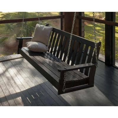 Vineyard 60 in. Black Plastic Outdoor Porch Swing