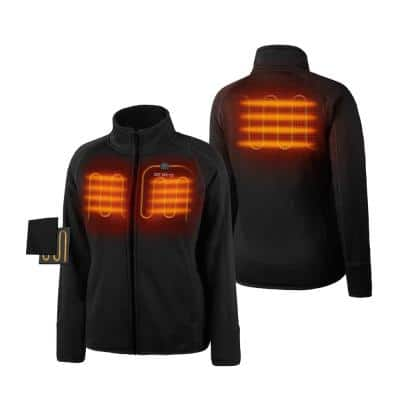 Women's Small Black 7.2-Volt Lithium-Ion Heated Fleece Jacket with (1) 5.2Ah Battery and Charger