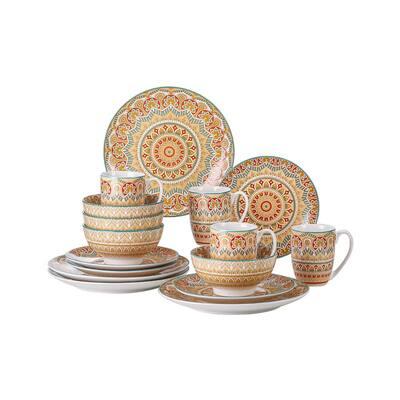 Mandala 16-Piece Yellow Porcelain Dinnerware Sets (Service for 4)