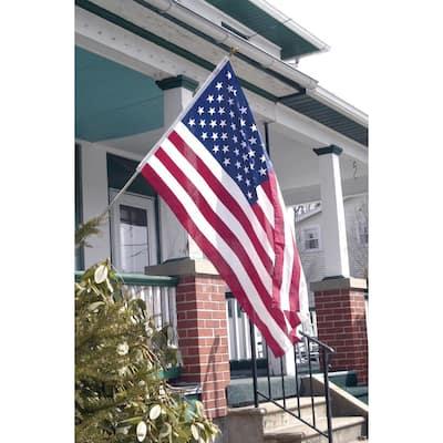 All-American 3 ft. x 5 ft. Polycotton U.S. Flag 6 ft. 3-Piece Steel Pole Kit
