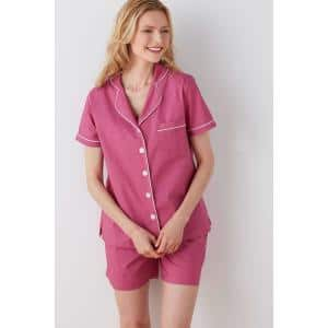 Solid Poplin Cotton Women's Small Raspberry Pajama Short Set