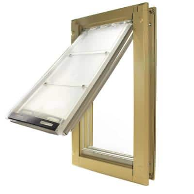 12 in. x 22 in. Extra Large Double Flap for Doors with Tan Aluminum Frame
