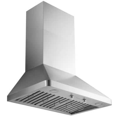Pro 30 in. 1000 CFM Ducted Wall Mount Range Hood in Stainless Steel with LED Lights