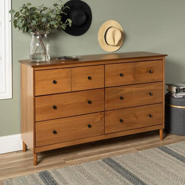 Walker Edison Furniture Company Classic Mid Century Modern 6 Drawer Caramel Solid Wood Dresser Hdr6dddrca The Home Depot