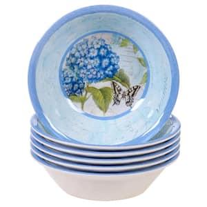 Hydrangea Garden 6-Piece Multi-Colored 7.5 in. x 2 in. All Purpose Bowl Set