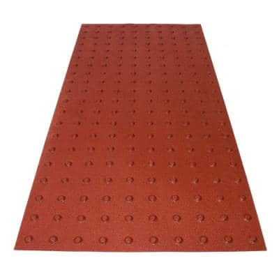 PowerBond 24 in. x 4 ft. Colonial Red ADA Warning Detectable Tile (Peel and Stick)