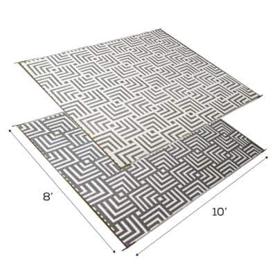 Olive/Beige 8 ft. x 10 ft. Geometric Reversible Virgin Polypropylene Mat with UV Protection