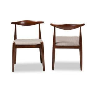 Aeron Light Gray and Walnut Fabric Dining Chair (Set of 2)