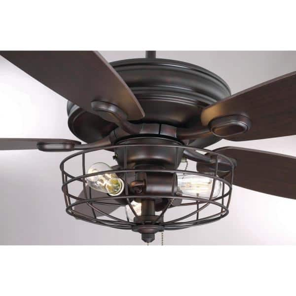 Filament Design 52 In Oil Rubbed Bronze Ceiling Fan With Metal Wire Cage Cli Sh027668 The Home Depot