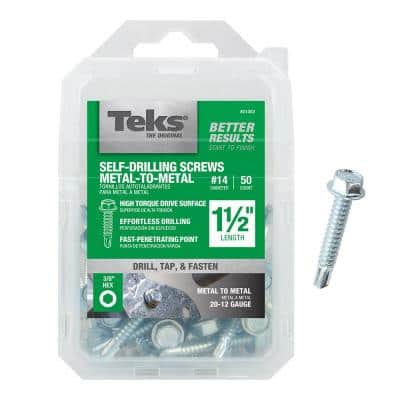 #14 x 1-1/2 in. External Hex Drive Washer Head Self-Drilling Screws (50-Pack)
