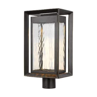 Urbandale 1-Light Outdoor Antique Bronze Integrated LED Post Light