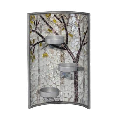 4 in. Sandlewood Hand Blown Art Glass Candle Holder 2-Piece Set