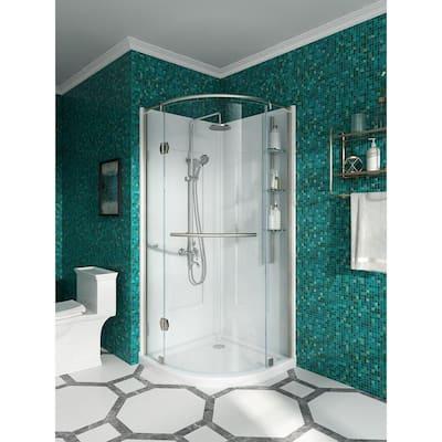Glamour 34 in. x 76.40 in. Corner Drain Corner Shower Kit in Satin Nickel and White