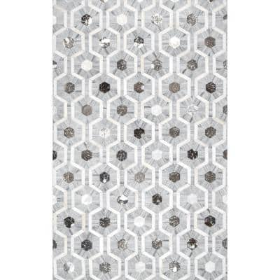 Ivanna Leather Honeycomb Trellis Gray 5 ft. x 8 ft. Area Rug