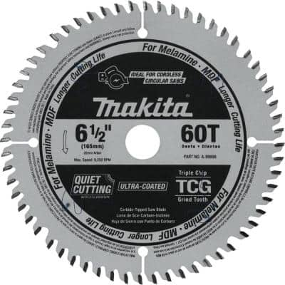 6-1/2 in. 60T (TCG) Carbide Tipped Cordless Plunge Saw Blade, MDF, Laminate
