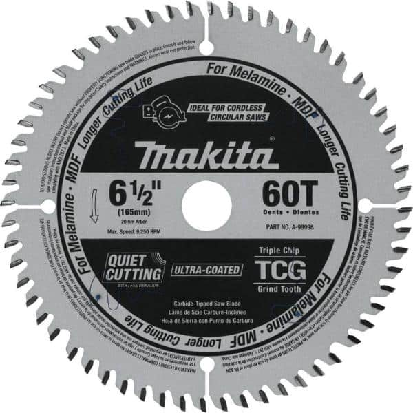 Makita 6 1 2 In 60t Tcg Carbide, Saw Blade For Laminate Flooring Home Depot