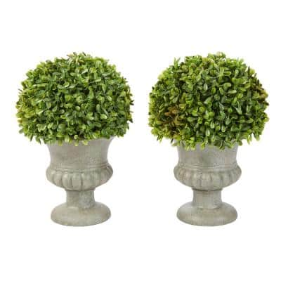 9.5 in. Faux Foliage Arrangement with Decorative Urn (Set of 2)