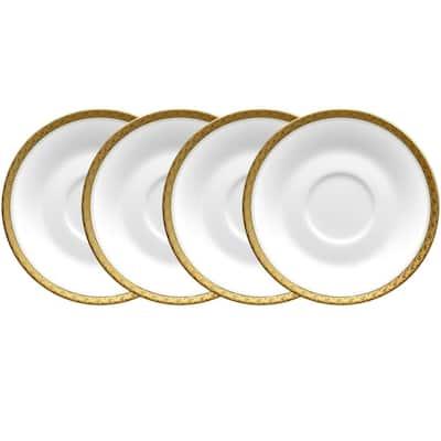 Charlotta Gold/White Porcelain Saucers (Set of 4) 6 in.