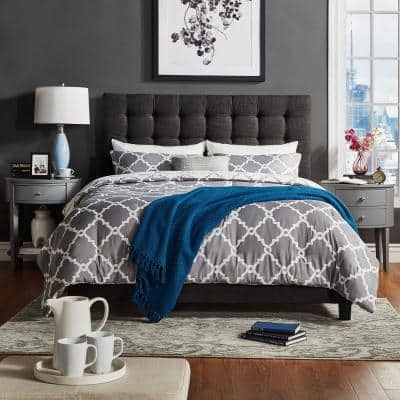 Cadley Dark Grey Button Tufted Queen Standard Bed