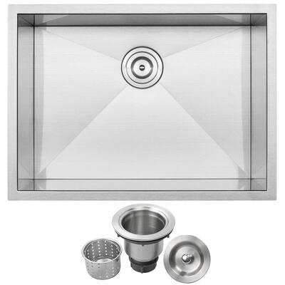 Pacific Zero Radius Undermount 16-Gauge Stainless Steel 26 in. Single Basin Kitchen Sink with Basket Strainer