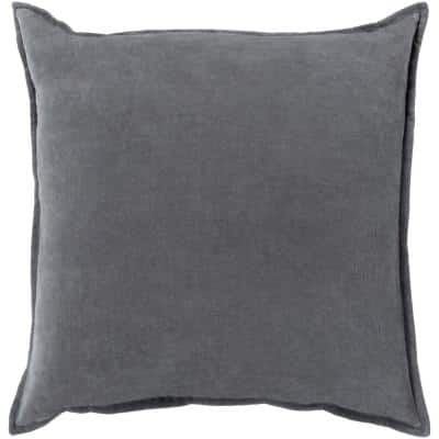 Velizh Charcoal Solid Polyester 22 in. x 22 in. Throw Pillow