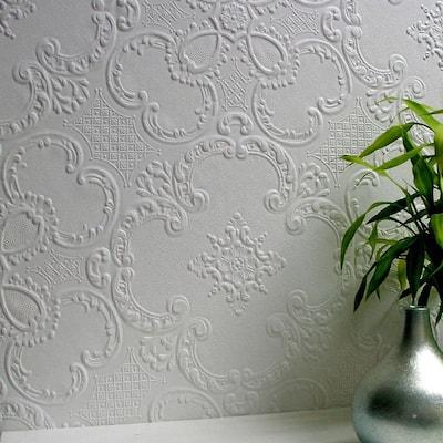 Alfred Paintable Supaglypta White & Off-White Wallpaper Sample