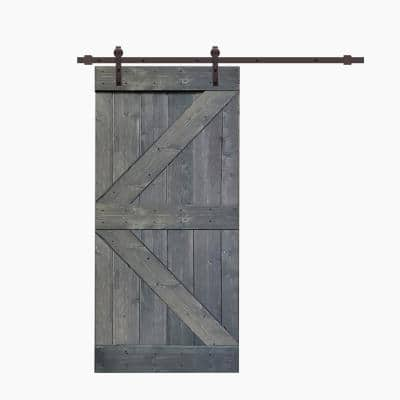 K Series 38 in. x 84 in. Gray Knotty Pine Wood Interior Sliding Barn Door with Hardware Kit
