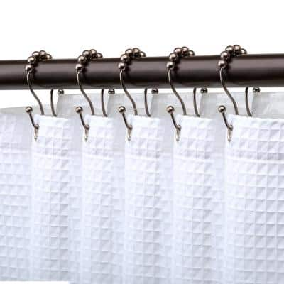 Double Roller Ball Shower Curtain Rings for Bathroom, Rust Resistant Stainless Steel, Oil Rubbed Bronze