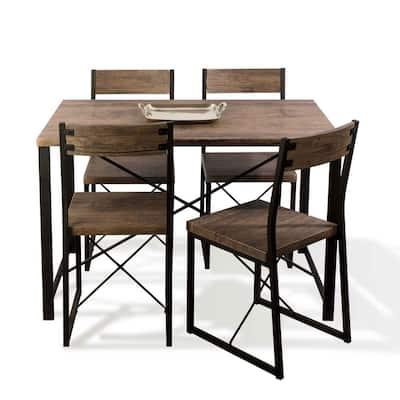 Urban Blend Dining 5pc Set, Woodgrain/Black