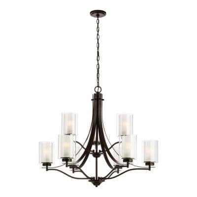 Elmwood 9-Light Bronze Modern Transitional Hanging Chandelier with Satin Etched Glass Shades and LED BulB