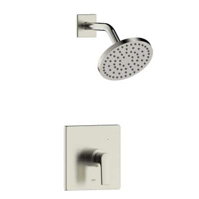 Chatelet Single-Handle 1-Spray Settings Round Shower Faucet Set in Brushed Nickel with Pressure Balance Valve Included