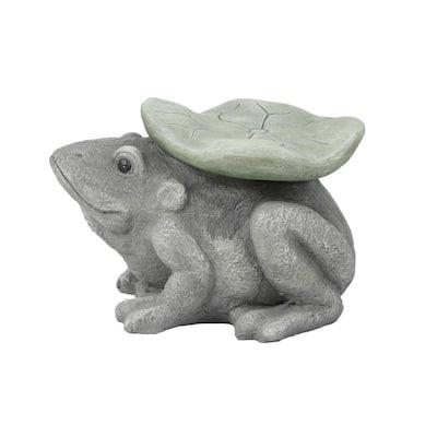 Gray MgO Frog and Lilypad Garden Stool