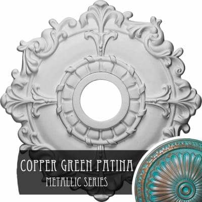 1-1/2 in. x 18 in. x 18 in. Polyurethane Riley Ceiling Medallion, Copper Green Patina
