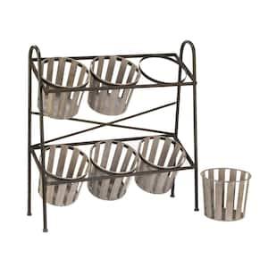 Bushel Basket 2-Tier Iron Storage Rack