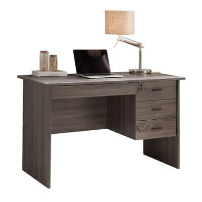 48 in. Rectangular Gray 3 Drawer Computer Desk with Locking Feature