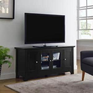 Carver 53 in. Matte Black Composite TV Stand 55 in. with Glass Doors