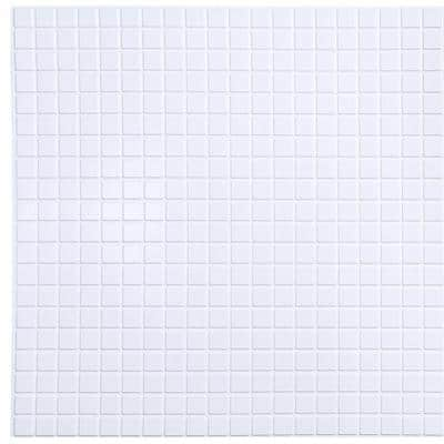 3D Falkirk Retro III 38 in. x 19 in. White Faux Mosaic PVC Decorative Wall Paneling (5-Pack)