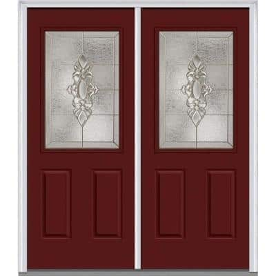 72 in. x 80 in. Heirlooms Right-Hand Inswing 1/2-Lite Decorative Painted Fiberglass Smooth Prehung Front Door