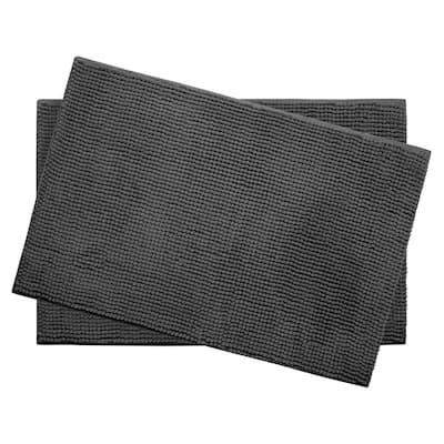 Plush Chenille Dark Gray 17 in. x 24 in. Memory Foam 2-Piece Bath Mat Set