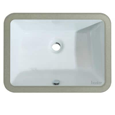 20-1/4 in. x 15 in. Rectangular Ceramic Undermount Bathroom Sink in White with Overflow