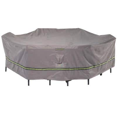 Soteria 140 in. Grey Rectangular/Oval Patio Table with Chairs Cover