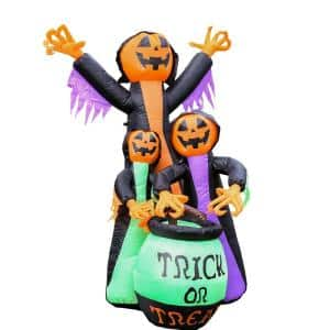 5.9 ft. Pre-Lit Trick Or Treat Pumpkin Witches Halloween Inflatable