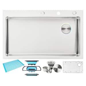 36'' Topmount/Drop-in 16G Stainless Steel Single Bowl OffsetDrain Sink w/Bottom Grid,Silicone Dish Rack,Colander&Strainer