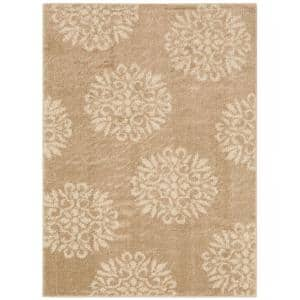 Exploded Medallions Sand Stone 8 ft. x 10 ft. Indoor Area Rug