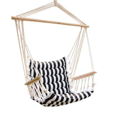 43 in. x 22 in. Hammock Hanging Swing Chair in Black and White Stripes