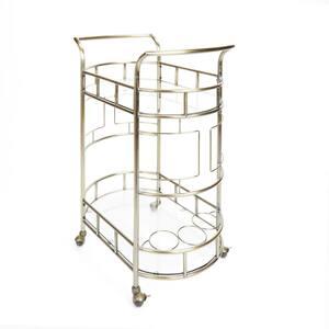 Sinclair 2-Tier Antique Gold Serving Cart